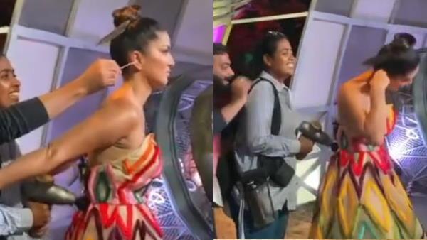 VIDEO: मेकअप कराती सनी लियोनी के दोनों हाथ थे पीछे, डायरेक्टर ने कर दिया मजाक
