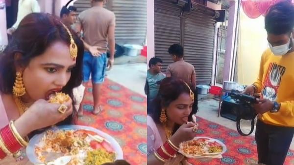 कैमरा देखते ही हाथ से खाना खा रही महिला ने उठाई चम्मच, Video Viral होने पर छिड़ गई बहस