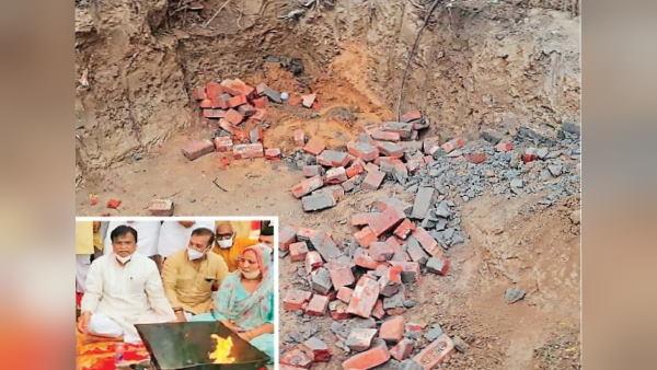 भाजपा प्रदेशाध्यक्ष ने हरियाणा में पार्टी के कार्यालय का शिलान्यास किया, कुछ ही देर बाद पहुंची किसानों की भीड़ ने नींव की ईंटें उखाड़ फेंकी