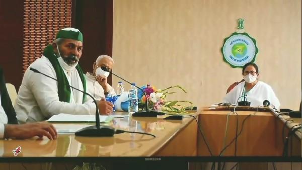 किसान आंदोलन की रणनीति को लेकर ममता 'दीदी' से मिले राकेश टिकैत, सीएम ने किया साथ निभाने का वादा