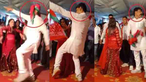 गोरखपुर: बार-बालाओं संग गमछा ओढ़ जमकर थिरके सपा नेता, गाना था 'अखिलेश को दिलाएंगे ताज'