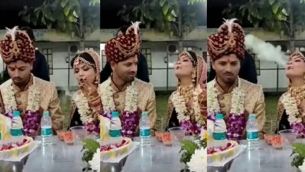 दुल्हन ने शादी के जोड़े में उड़ाए धुएं के छ्ल्ले