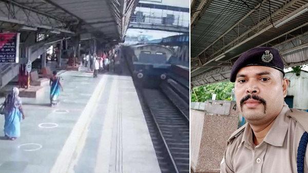 बच्चे के साथ चलती रेल में चढ़ती महिला ट्रेन और प्लेटफार्म के बीच आधी फंसी, RPF जवान ने बचाई