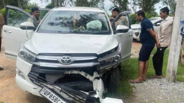 यूपी के मंत्री की मथुरा से चोरी हुई कार भरतपुर में क्षतिग्रस्त हालत में मिली, चोरों की तलाश में जुटी पुलिस