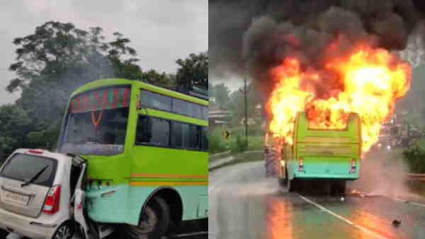 झारखंडः रामगढ़ जिले में कार और बस की सीधी टक्कर होने से लगी आग, 5 लोग जिंदा जले