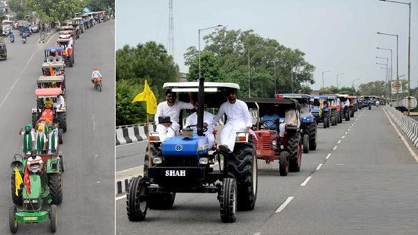 कृषि कानूनों के खिलाफ किसानों ने पंजाब में निकाला मार्च, ट्रैक्टर ट्रॉलियों का 10 किलोमीटर लंबा काफिला नजर आया