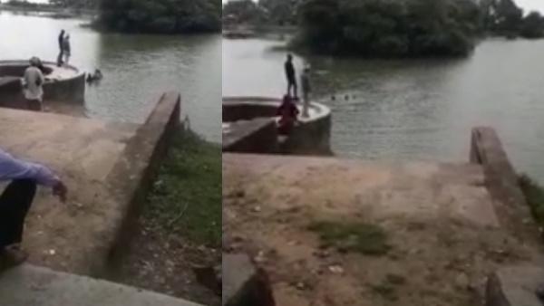 VIDEO : पुलिस को देख जुआरियों ने तालाब में लगाई छलांग, बचाने के लिए थानेदार ने लगाई जान की बाजी