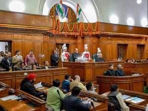 दिल्ली विधानसभा- जेएनयू देशद्रोह केस को लेकर प्रदर्शन