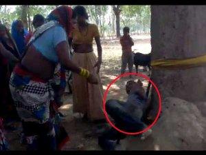 VIDEO:शराब की लत से दुखी पत्नी ने पति को पेड़ से बांधकर पीटा