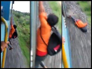ट्रेन से लटकर स्टंट करना पड़ा महंगा, रूह कंपा देगा VIDEO