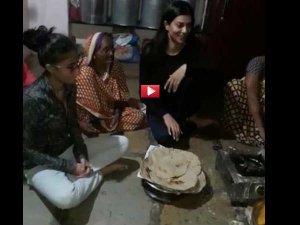 VIDEO: सुष्मिता ने बुजुर्ग संग जमीन पर बैठ खाया खाना