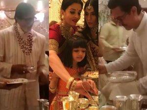 ईशा अंबानी की शादी में मेहमानों को खाना परोसते दिखे अमिताभ