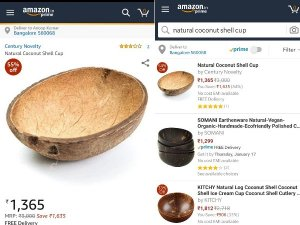 'नारियल के छिलके' को 1400 रुपए में बेच रहा है अमजेन