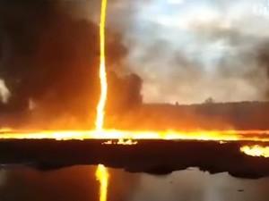 VIDEO: धरती से उठा आग का बवंडर आसमान तक पहुंचा, कुदरत का अद्भुत नजारा