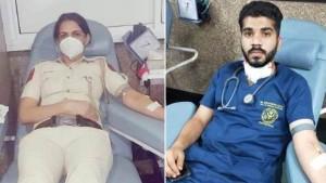 महिला हवलदार बाला यादव और डॉक्टर मोहम्मद फवाज बने मानवता की मिसाल, रक्तदान कर बचाईं जान