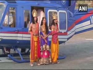 CMयोगी ने राम-सीता का किया भव्य स्वागत,पर लक्ष्मण को भूले