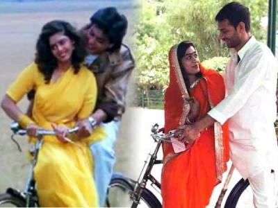 Pics: तेजप्रताप हुए रोमांटिक, पत्नी को कराई साइकिल पर सैर...
