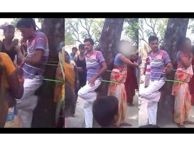 शादीशुदा महिला को  प्रेमी संग बांध की गई पिटाई, वीडियो वायरल