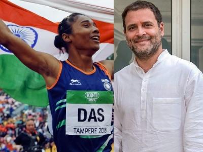 गोल्ड जीतकर हिमा दास ने रचा इतिहास, राहुल गांधी ने दी बधाई