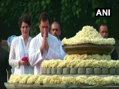 राजीव गांधी की जयंती पर सोनिया-राहुल ने दी श्रद्धांजलि