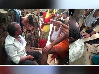 छेड़छाड़ करने वाले को पकड़ कर ग्रामीणों ने मुंडवाए बाल