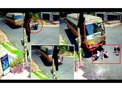 VIDEO: बस से जाकर सीधी भिड़ी बाइक, फिर भी बच गए बाइक सवार